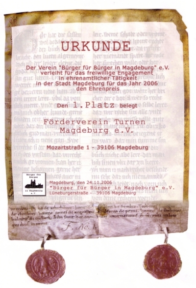 """2006 Urkunde """"Bürger für Bürger"""" Magdeburg e.V."""